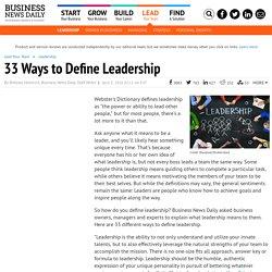 30 Ways to Define Leadership