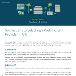Suggestions to Selecting a Web Hosting Provider in UK