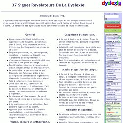 37 Signes Revelateurs De La Dyslexie