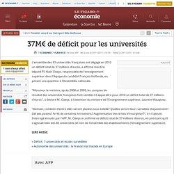 Flash Eco : 37M€ de déficit pour les universités