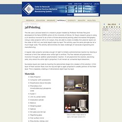 3d Printing - the Nano-CEMMS Center
