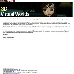 3D Virtual Worlds List