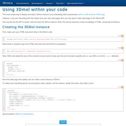 3Dmol.js tutorialUsing 3Dmol within your code