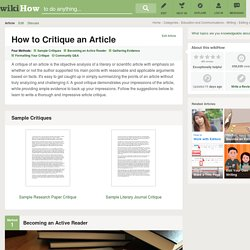 4 Easy Ways to Critique an Article