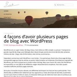 3 façons d'avoir plusieurs pages de blog avec wordpress - Buzut