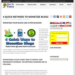 4 Quick Methods to Monetize Blogs