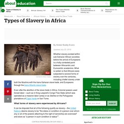 Types of Slavery in Africa
