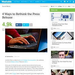 4 Ways to Rethink the Press Release