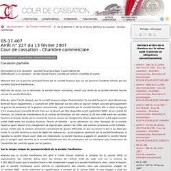 05-17.407Arrêt n°227 du 13 février 2007Cour de cassation - Chambre commerciale