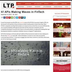 41 APIs Making Waves in FinTech