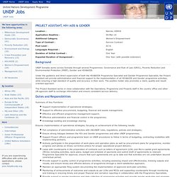 44139- Project Assistant, HIV/AIDS & Gender
