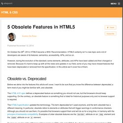 5 Obsolete Features in HTML5