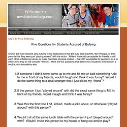 5 Q's To Stop Bullying