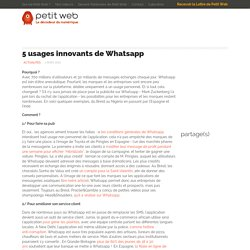 5 usages innovants de Whatsapp