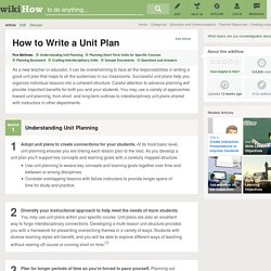 3 Ways to Write a Unit Plan