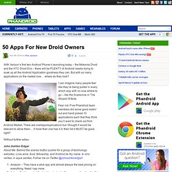 50 Apps For New Droid Owners
