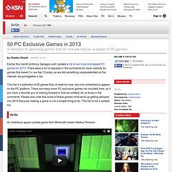 50 PC Exclusive Games in 2013