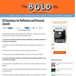 50 Questions for Reflection and Personal Growth