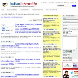 B Tech (Computer Science) | Indian Internships