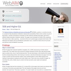 WebAIM Blog: 508 and Higher Ed