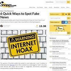 6 Quick Ways to Spot Fake News