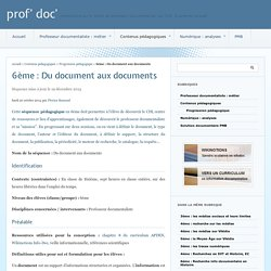 6ème : Du document aux documents - prof' doc'