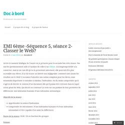 EMI 6ème -Séquence 5, séance 2- Classer le Web?