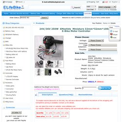 24V/36V 250W6MosfetsMiniature 32mm*52mm*100mm E-Bike Motor Controller -