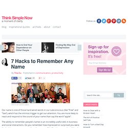 7 Hacks to Remember Any Name
