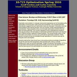 Guestrin's Optimization Course