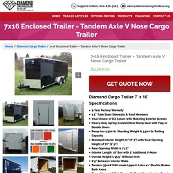 7x16 Enclosed Trailer - Tandem Axle V Nose Cargo Trailer - Guaranteed Lowest Prices on Diamond Trailers