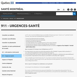 911 - Urgences-santé - Santé Montréal