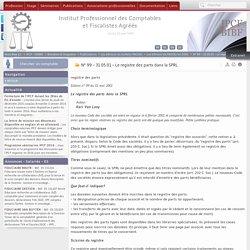 N° 99 - 31.05.01 - Le registre des parts dans la SPRL