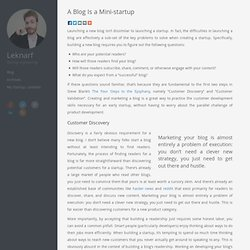 A blog is a mini-startup - Leknarf
