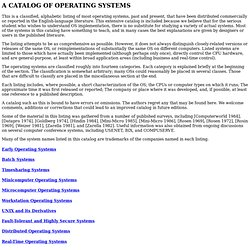 A Catalog of Operating Systems