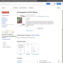 A Companion to Film Theory