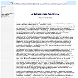 A Delinqüência Acadêmica