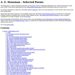 A.E. Housman - selected poems