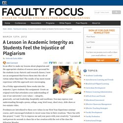 A Lesson in Academic Integrity