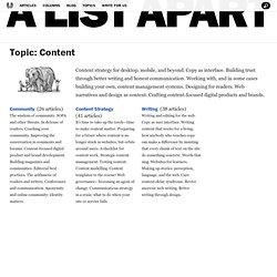 A List Apart: Topics: Content: Content Strategy