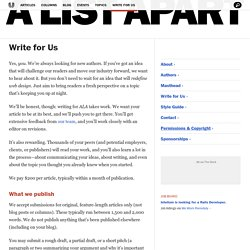 A List Apart: Write for Us