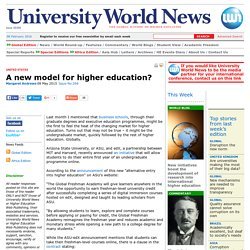 A new model for higher education?