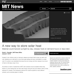 A new way to store solar heat
