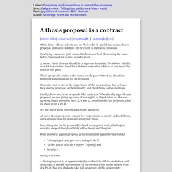 A Ph.D. thesis proposal is a contract