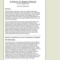 A Primer on Baptist History
