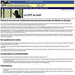 CPT Comité de Prévention de la Torture