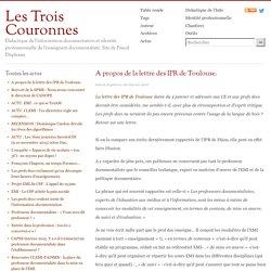 A propos de la lettre des IPR de Toulouse.
