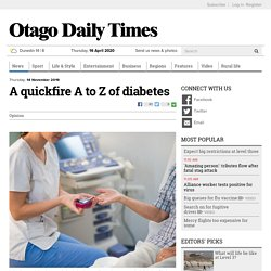 A quickfire A to Z of diabetes
