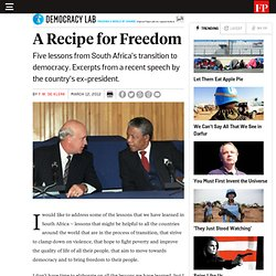 A Recipe for Freedom - By F.W. de Klerk
