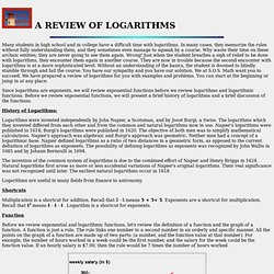 A REVIEW OF LOGARITHMS